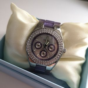 Guess Purple Watch with Rhinestones